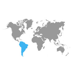 the map of south america is highlighted in blue vector image