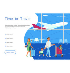 time for travel website landing template vector image