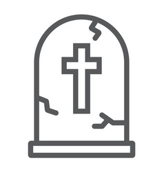 Tombstone line icon halloween and death vector