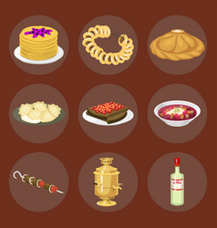 traditional russian cuisine culture dish course vector image