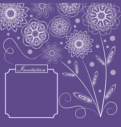 Ultraviolet background with monoline white floral vector