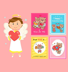 valentines day postcards cupid and teddy bears vector image