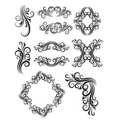 vintage floral element decorations vector image