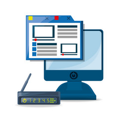Webside router internet and computer concept vector