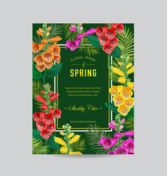 Wedding invitation template with flowers and palms vector