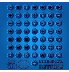 Fifty media Button set eps 10 vector image vector image
