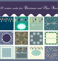 set of winter cards vector image vector image