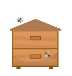 bee house icon flat style apiary isolated on vector image vector image