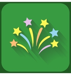 Flat icon with firework and shadow vector image