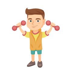 little smiling caucasian boy holding dumbbells vector image