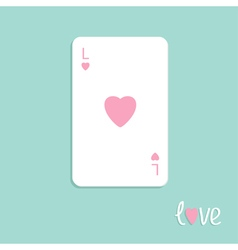Playing card love Ace of heart Flat design vector image