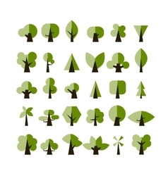 Set of green tree icons for your design vector image vector image