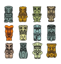 Tribal ethnic masks and totems vector image