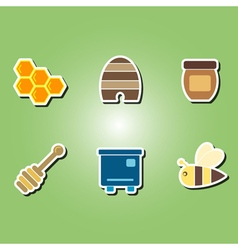 color icons with the theme of beekeeping vector image