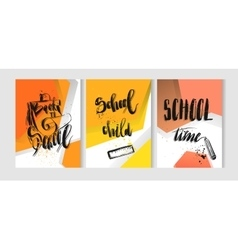 Hand drawn colorful back to school 3d card vector image