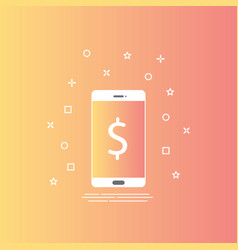 smartphone icon in line style with mobile payment vector image