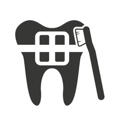 tooth silhouette with dental care icon vector image vector image