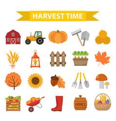 autumn harvest time icons set flat cartoon style vector image