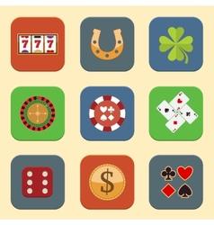 Casino Design Icons vector image vector image