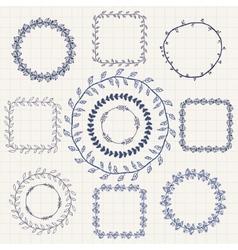 Handsketched Doodle Frames Design Elements vector image vector image
