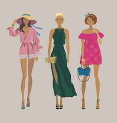 stylish summer girlsfashion models vector image