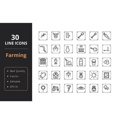 30 farmer line icon vector image