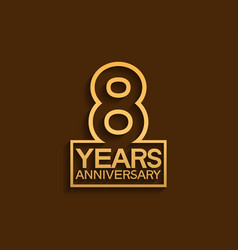8 years anniversary design line style with square vector
