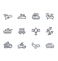 Army line icons on white vector