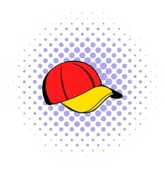 Baseball cap icon comics style vector