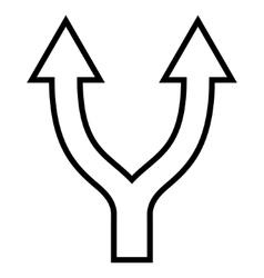 Bifurcation Arrow Up Contour Icon vector