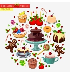 Big set of different sweets for Christmas vector image