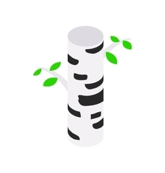 Birch tree isometric 3d icon vector