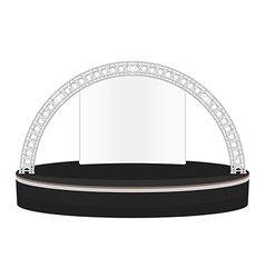Black color flat style dais round stage metal vector