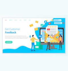 Business concept get customer feedback landing vector