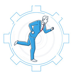 Businessman running in a gear - line design style vector