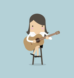 businesswoman playing guitar vector image