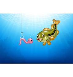 Cartoon bass fish hunting a pink worm vector image