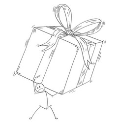 Cartoon of man or businessman carry large gift vector