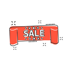 cartoon sale ribbon icon in comic style discount vector image