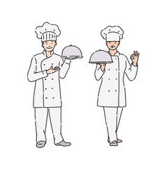 chef woman and man in professional uniform with vector image