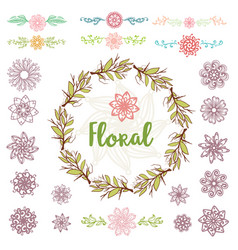 collection design elements and frame flowers vector image
