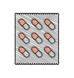 color crayon stripe cartoon pack for capsule pills vector image