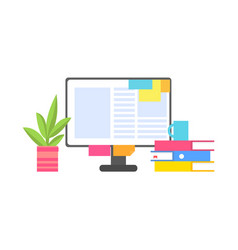 computer monitor with paper stickers and documents vector image