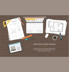 construction project architect house plan vector image