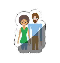 Couple romantic relation shadow vector