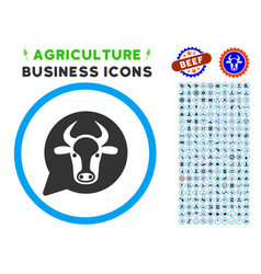 Cow message balloon rounded icon with set vector