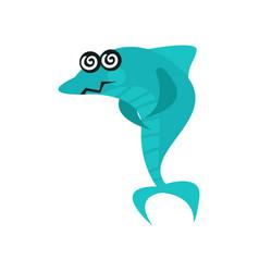 Cute dizzy shark cartoon character with rotating vector