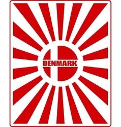Denmark flag on sun rays backdrop vector
