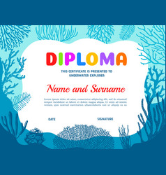 Diploma for underwater explorer with seaweeds vector