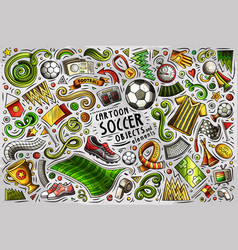 doodle cartoon set of soccer objects vector image